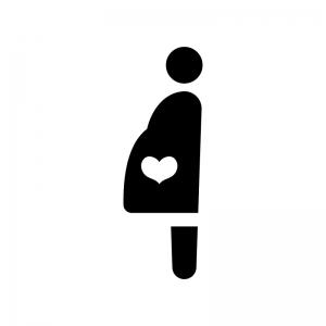 妊婦さんの白黒シルエットイラスト02