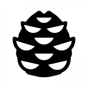 松ぼっくりの白黒シルエットイラスト