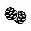 松ぼっくりの白黒シルエットイラスト02