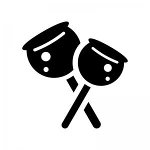 りんご飴の白黒シルエットイラスト02