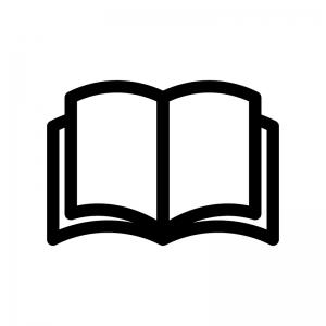 本(見開き)の白黒シルエットイラスト
