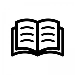 本(見開き)の白黒シルエットイラスト02