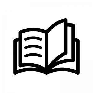 本(見開き)の白黒シルエットイラスト04
