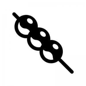 みたらし団子の白黒シルエットイラスト02