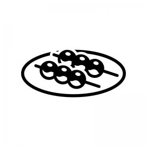 みたらし団子の白黒シルエットイラスト03