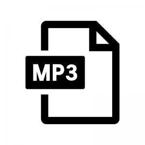 MP3ファイルの白黒シルエットイラスト