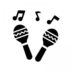 マラカスと音符の白黒シルエットイラスト