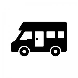 キャンピングカーの白黒シルエットイラスト