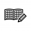 方眼ノートと鉛筆の白黒シルエットイラスト
