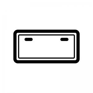 ナンバープレートの白黒シルエットイラスト