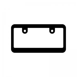 ナンバープレートの白黒シルエットイラスト02
