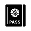 パスポートの白黒シルエットイラスト02