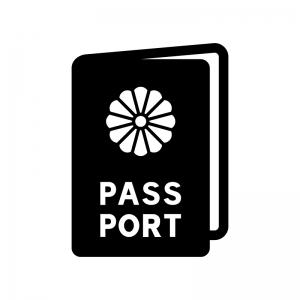 パスポートの白黒シルエットイラスト03
