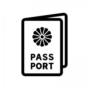 パスポートの白黒シルエットイラスト04