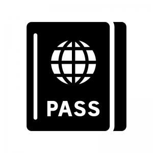 パスポートの白黒シルエットイラスト06
