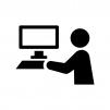 パソコン入力の白黒シルエットイラスト02