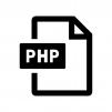 PHPファイルの白黒シルエットイラスト