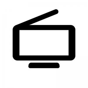 ワンセグ・ポータブルテレビの白黒シルエットイラスト