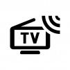 ワンセグ・ポータブルテレビの白黒シルエットイラスト04