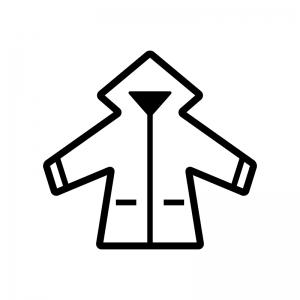 レインコートの白黒シルエットイラスト02