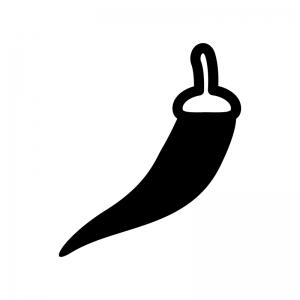 唐辛子の白黒シルエットイラスト02
