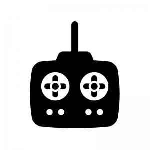 ラジコンのリモコンの白黒シルエットイラスト03