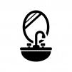 洗面台の白黒シルエットイラスト03