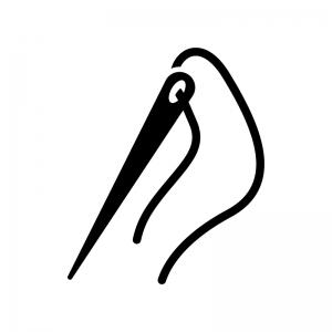糸を通した針の白黒シルエットイラスト