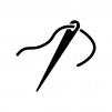 糸を通した針の白黒シルエットイラスト02