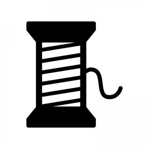 裁縫の糸の白黒シルエットイラスト