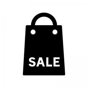 セールの買い物袋の白黒シルエットイラスト