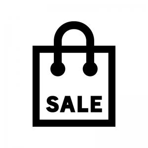 セールの買い物袋の白黒シルエットイラスト02