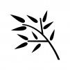 笹の葉の白黒シルエットイラスト