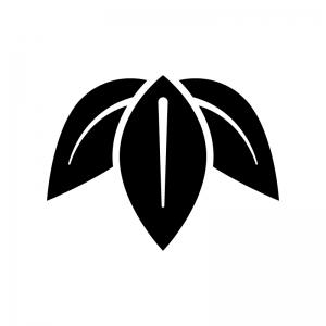 笹の葉っぱの白黒シルエットイラスト