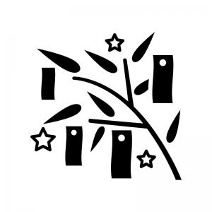 七夕飾りの白黒シルエットイラスト