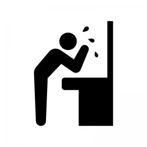洗面所で洗顔する人の白黒シルエットイラスト