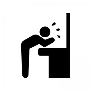 洗面所で洗顔する人の白黒シルエットイラスト02