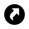ショートカット矢印の白黒シルエットイラスト02