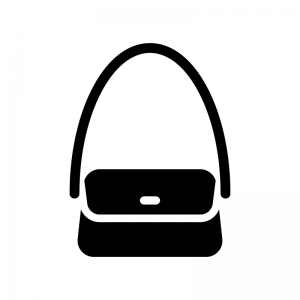 ショルダーバッグの白黒シルエットイラスト