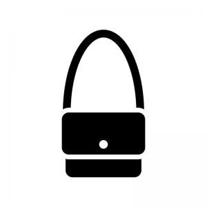 ショルダーバッグの白黒シルエットイラスト02