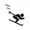 スキーの白黒シルエットイラスト02