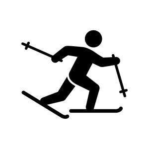 スキーの白黒シルエットイラスト03