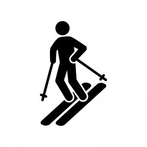 スキーの白黒シルエットイラスト04