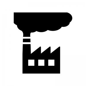スモッグ工場の白黒シルエットイラスト02