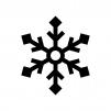 雪の結晶の白黒シルエットイラスト09