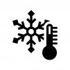 雪の結晶と温度計の白黒シルエットイラスト
