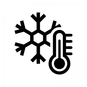 雪の結晶と温度計の白黒シルエットイラスト02