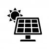ソーラーパネルと太陽の白黒シルエットイラスト02