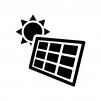 ソーラーパネルと太陽の白黒シルエットイラスト03