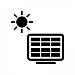 ソーラーパネルと太陽の白黒シルエットイラスト04